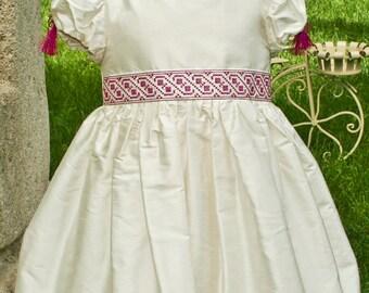 Anna - Silk Elegant Dress, Ivory Dress for Christening, Girl Silk Bubble Dress, Traditional Motifs Party Dress, Flower Girl Bubble Dress
