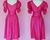 Vintage 80s Prom Dress w/Belt Hot Pink // 1980s Costume Retro Bridesmaid Magenta Dress Women Size Small Medium