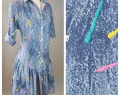 The Jessie Spano- Vintage 80s 90s Jean Dress Acid Wash Saved By The Bell Womens Size Medium Large