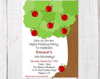 Apple picking invitation, apple tree invitation, apple birthday theme party invitation, fall party invitation, printables