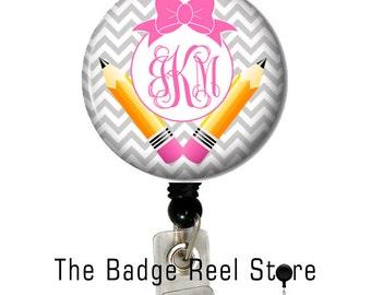 ID  Badge Reel  - Retractable Badge Reel - Name Tag - Teacher - Back to School - Personalized - Name - Badge Reel - ID holder