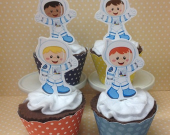 Astronauts, Aliens and Rocketship Party Cupcake Toppers Decorations - Set of 10