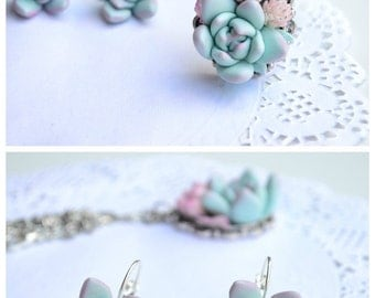 Mint succulent necklace earrings jewelry set. Planter necklace earrings jewelry set. Rustic earrings necklace jewelry
