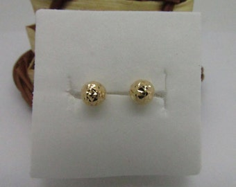 18K Solid Yellow Gold Diamond Cut Ball Stud Earring