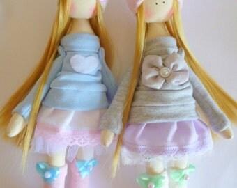 Handmade doll, Tilda dolls, Decorative Doll, Shabby Chic Nursery, Little Girl toys, Shabby Cloth dolls,ballerina doll.Fabric Doll