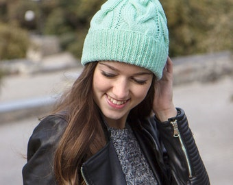 Merino Womens Hat - Mint Green Knitted Hat For Women - Womens Knit Hat - Women's Winter Hat - Merino Wool Hat