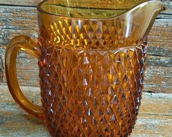 Vintage Indiana Glass Pitcher, Amber Glass Water Pitcher, Indiana Glass Diamond Point Pitcher,