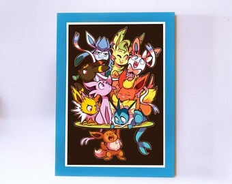 Eevee Pokemon Eeveelution Print Poster Yorogato