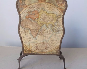 Antique Letter Holder Decoupage Map with Year 1630 on Metal with Fabric Trim