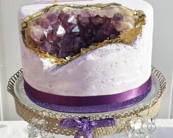 Amethyst fake cake, crystal cake, lilac fake cake, ooak