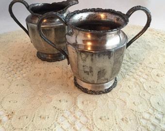 Vintage Van Bergh Quadruple Plate Sugar And Creamer