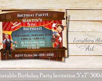 Pinocchio Invitation, Pinocchio Birthday Party Invitation, Pinokio Birthday Invitations, Jepeto, Jemini, Pinocchio printable invitation