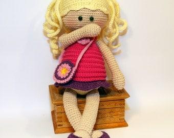 Doll handmade, Crochet doll, Doll pink dress, doll blond hair, cute doll, rag doll, first doll, gift for girl, cuddly doll, stuffed doll
