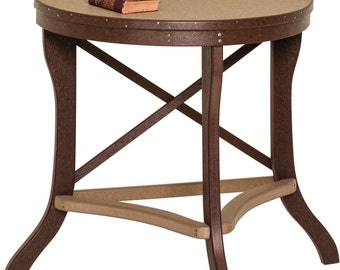 Recycled Poly Lumber Half Round 30 Inch Tall Balcony Table   18   22   24