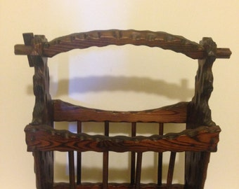 Sale!!! Rack Magazine Rack Vintage Hand Carved Hand Made Wood Magazine Rack from Spain