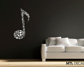 "Eighth Note Wall Decal / Musical Note Wall Sticker / Home Decor (22"" x 37"")"