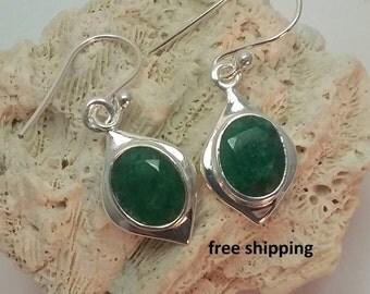 Emerald earrings in sterling silver