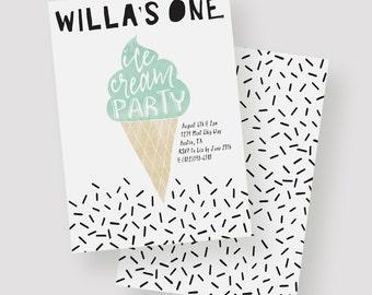 Ice Cream Party Invitation | Ice Cream Birthday Party, Ice Cream Cone, First Birthday, Sprinkles, Mint, Pink, Watercolor Birthday Printable