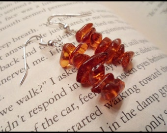 Amber Stone Earrings, Semi Precious Stone Earrings, Stone Chip Earrings, Amber Jewelry, Fall Jewelry, Autumn Earrings, Seasoned Jewlery