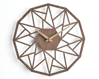 Modern wooden clock 30 cm - 12 in |  geometric clock | laser cut wall clock | veneer wall clock | walnut wall clock | decorative clock