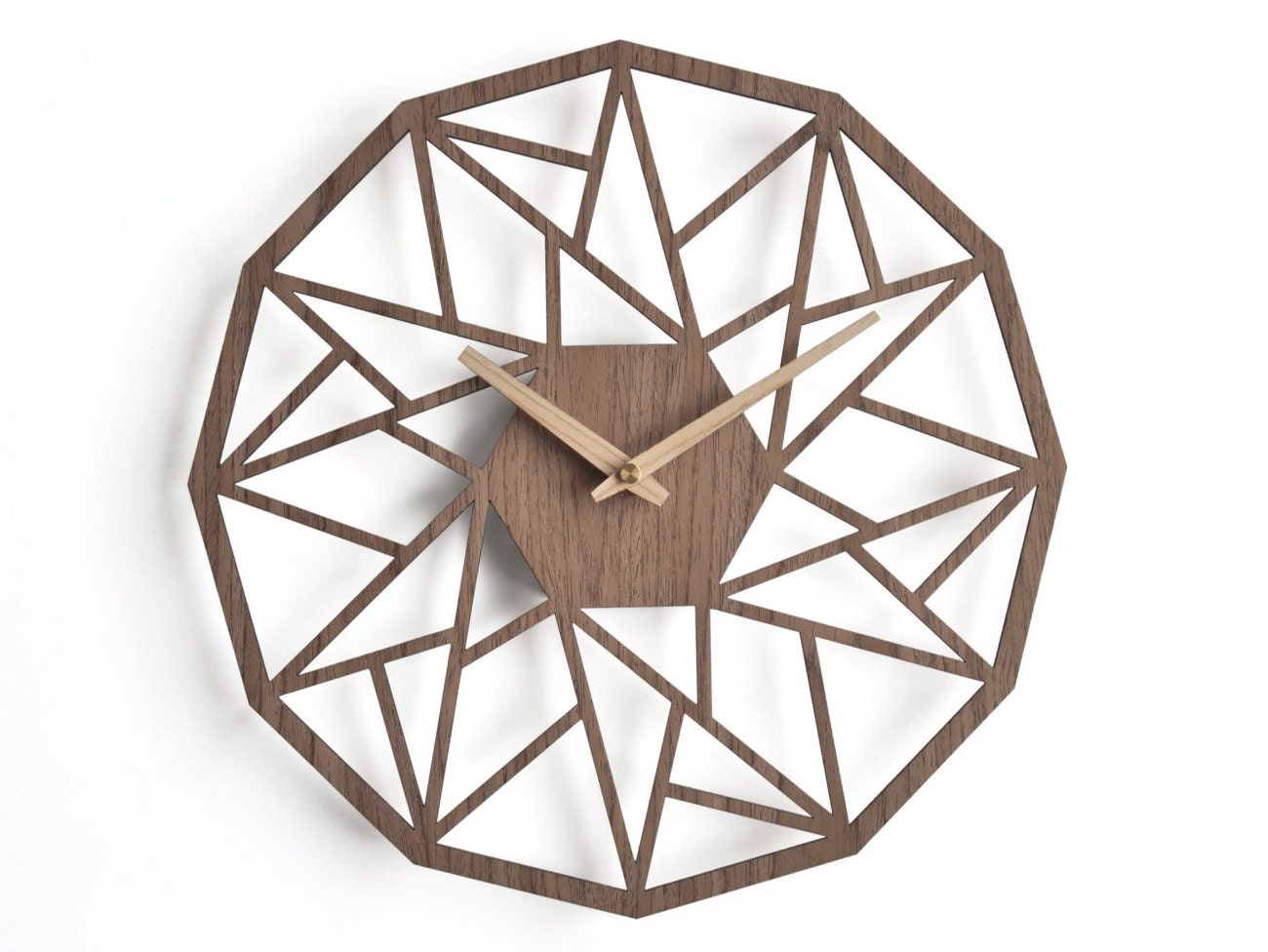 Wooden wall clock 30cm 12 in geometric clock laser cut zoom amipublicfo Choice Image