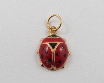 Lady Bug With Red and Black Enamel 19K Gold Vintage Portuguese Charm For Bracelet
