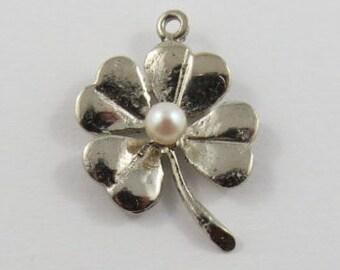 Four Leaf Clover With Pearl Sterling Silver Vintage Charm For Bracelet