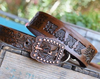 Leather Dog Collar Copper Buckle ( Western dog collar ~ tooled collar ~ personalized dog collar ~ vintage 1950 name belt )The Diamond Dogs