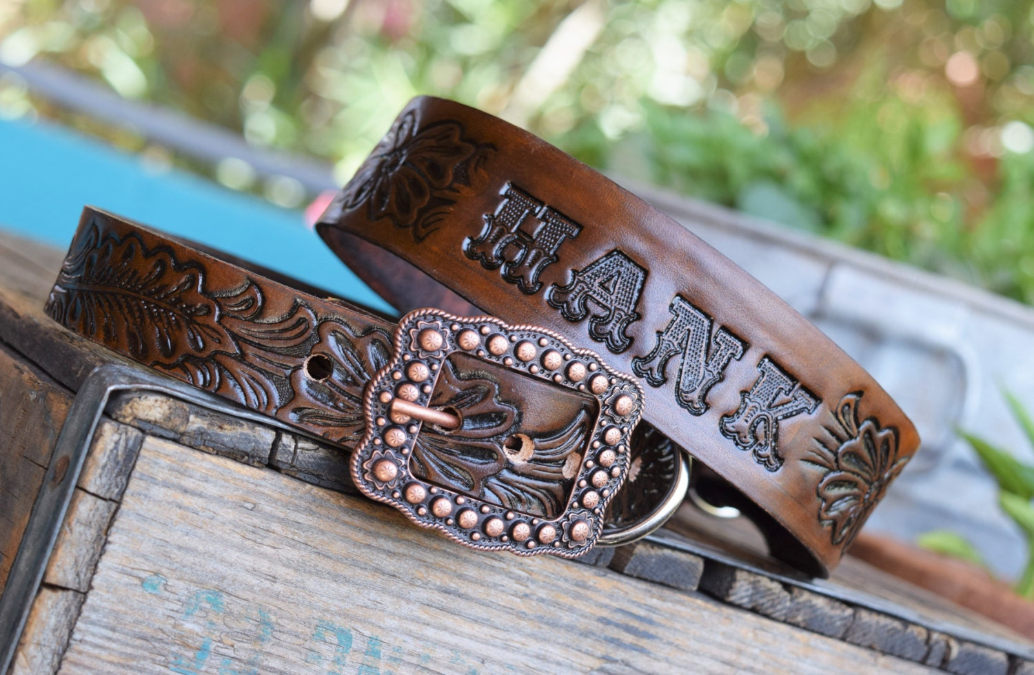 Western Tooled Leather Dog Collars