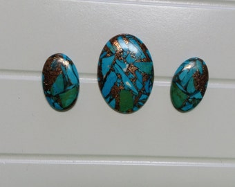 Natural  Copper Turquoise Malachite Oval Cabochons 66.55cts  Set of 3
