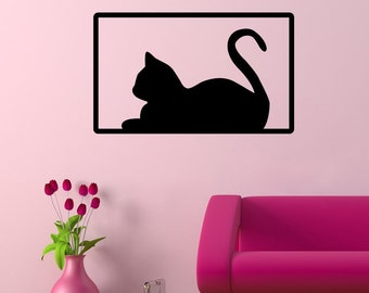 Cat in a Frame - Cute Stylish Kitty Black Wall Decal