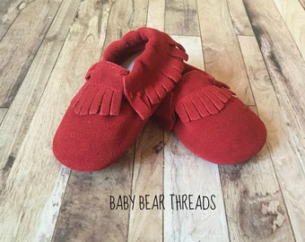Red Suede Leather Baby Moccasins Fringe
