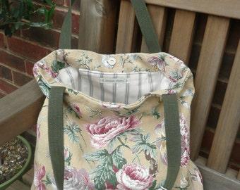 Handmade vintage floral barkcloth fabric tote bag - sand/pink/green