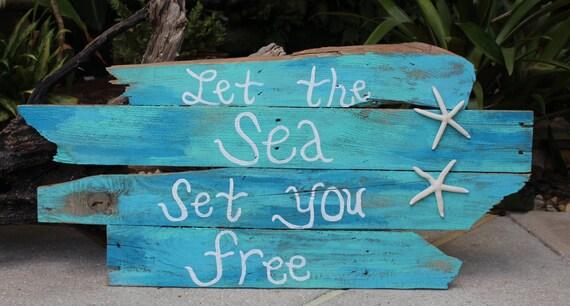 Let The Sea Set You Free Pallet Art Quotes Nautical Decor