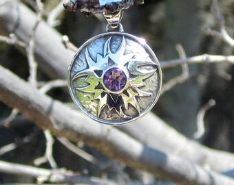 Amethyst & Sterling Silver Sunburst Pendant - #23