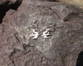 Sterling Silver Etched Flying Bird Earrings - #179