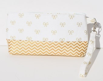 White with Gold Bow Zippered Wristlet