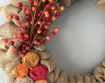 Burlap Wreath / Burlap Berry Wreath / Spring Wreath / Burlap Wreath with Flowers / Front Door Decor / Custom Wreath / Rosette Wreath /Wreath
