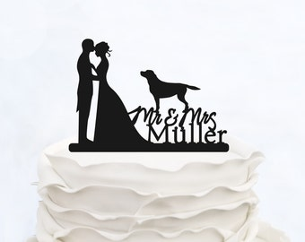 Mr & Mrs Cake Topper_Wedding Cake Topper With Last Name_Custom Cake Topper With Dogs_Groom And Bride Cake Topper_Pet Topper_Made in Italy