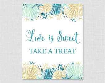 Love is Sweet Sign for Nautical Bridal Shower - Printable Blue and Aqua Nautical Shower Favor Table Sign - Love is Sweet Take a Treat 0012-B