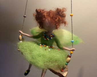 Needle felted fairy, Children room, Waldorf inspired, Needle felted angel, Swing, Doll miniature, Green fairy, Home décor,Gift, Art doll