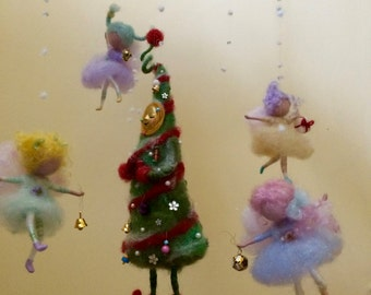 Needle felted Christmas Angels, Christmas Tree,  Waldorf inspired, Christmas Ornament, Home decor, Mobile, Art Doll, Handmade