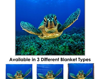Aquatic Sea Turtle Throw Blanket / Tapestry Wall Hanging
