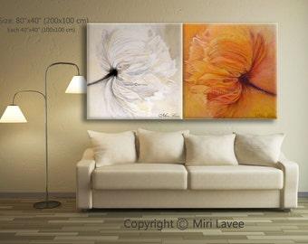Flower Painting, Large Art Original Painting, White Painting, Poppy Flowers, White Poppy, Wall Art Set, Large Wall Art, Trending Art