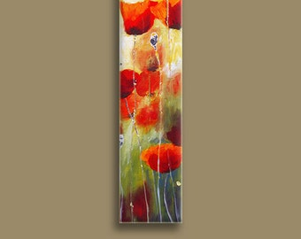 Oil Painting, Home Painting, Red Poppy Abstract Wall Art, Decorative Arts, Vertical Art, Flower Wall Decor, Vertical Painting