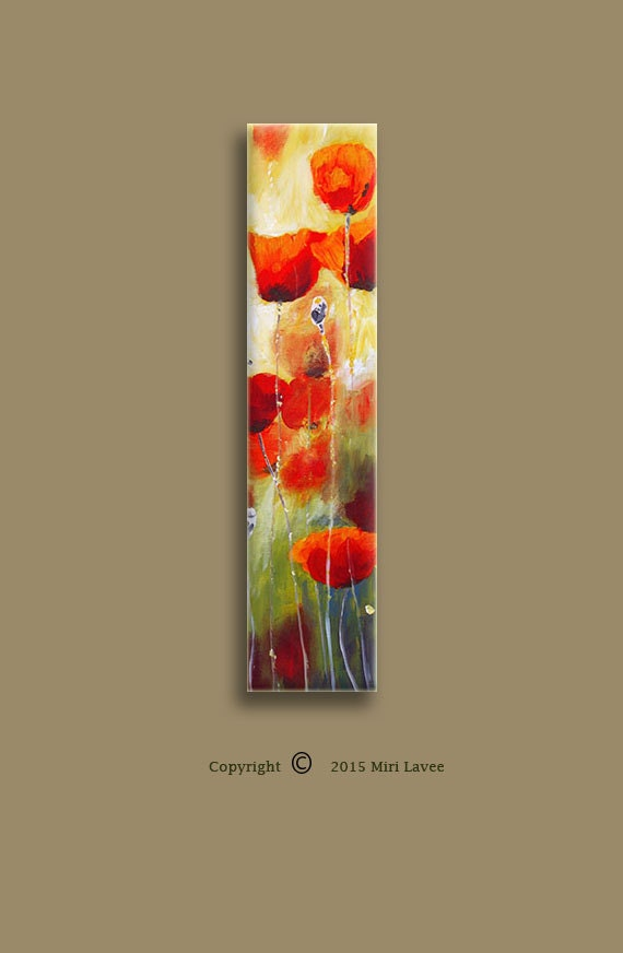 Oil painting home painting red poppy abstract wall art for Vertical wall art
