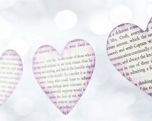 Jane Eyre heart paper garland, recycled paper garland, Wedding Garland book papers, home decor, party decor