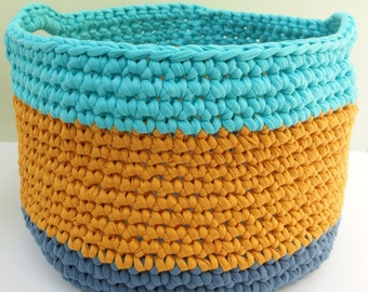 Chunky modern crochet storage basket, large, with handles, blues, mustard, fabric yarn, storage, nursery, kids' room, home decor, recycled