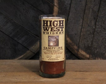 High West Whiskey Candle - Upcycled Bourbon Bottle Candle, Soy Candle 750ml Recycled Booze Bottle 18 oz. Soy Wax, Dorm Furniture Decor