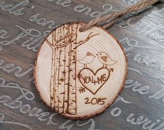 Love Birds Ornament, Heart Tree Ornament, Christmas Ornament for Couples, Couples Gift, Personalized Christmas Ornament, Tree Trunk Ornament